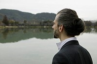 Man Looking over Lake