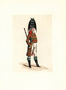 Costume of Malicorne, police agent of the Dutart school. He wears a striped jacket in Scottish wool with high collar, goatskin boots, claque (cocked h...