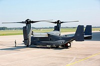 U.S. Bell-Boeing CV-22B Osprey landed at the Mosnov airport, Novy Jicin Region, Czech Republic, September 19, 2014 on the occasion of NATO Days and Cz...