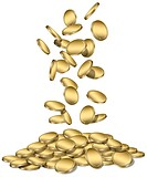Blank gold coins falling into a pile