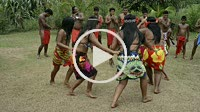Music and dancing in the village of the Native Indian Embera Tribe, Embera Village, Panama. Panama Embera people Indian Village Indigenous Indio indio...