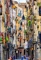 Colourful alley with lanterns, historic centre, Girona, Catalonia, Spain