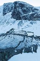 Landschaft im Tal Gearggevaggi, Norrbotten, Lappland, Schweden, Januar 2014
