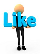 Human man with like button blue social