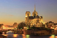 Notre Dame Cathedral at Sunset, Paris, France.