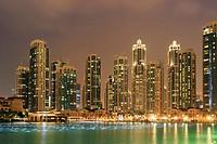 Dubai Downtown at Night, United Arab Emirates.