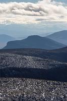 Blick vom Kebnekaisefjaell zum Sarek Nationalpark, Welterbe Laponia, Norrbotten, Lappland, Schweden, August 2013