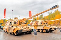 The 152 mm howitzer 2S19M2 Msta-S. Russia