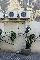 Air conditioning machines and wall, Funchal, Madeira Island, Portugal
