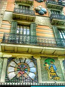 Art nouveau decorations on Casa Bruno, La Rambla, Barcelona