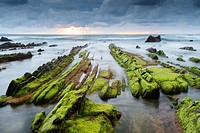 Rocky beach. Barrika, Biscay, Basque Country, Spain, Europe.