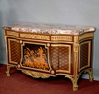 Transitional Louis XV-XVI style Second Empire (Napoleon III) commode with rosewood, satinwood, amaranth and painted wood inlays, stamped by Lexcellent...