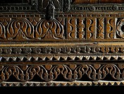 Teak three door cabinet-coffer with sculpted decoration. India, 18th century. Detail of the decoration.  Private Collection