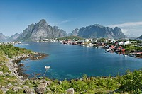 The village of Reine and fjords and mountains in the Lofoten Islands, Norway.