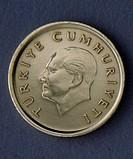 50 lira coin, 1990, obverse, portrait of Mustafa Kemal Ataturk (1881-1938). Turkey, 20th century.