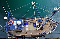 trawler from above, France, Brittany, Erquy