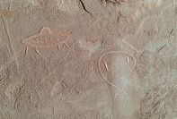 Cave painting on a rock, Utah, USA