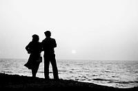 Couple looking out to sea at Priyadarshini Park Mumbai Maharashtra India Asia 1986