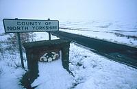 Desolate snowy road, Yorkshire.