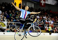 Arnost Pokorny of Czech Republic pictured during the Artistic Cycling Singel Men final at the Indoor Cycling World Championships 2014 in Brno, Czech R...