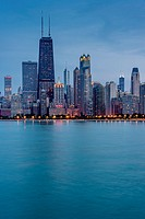 Chicago Waterfront at dusk, Illinois, USA.