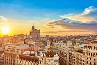Madrid skyline from The Circulo de Bellas artes rooftop. Madrid, Spain.