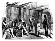 Soap factory packing, 19th century. Illustration of workers packing (left) and weighing (right) soap in a soap factory. This is the factory owned by H...