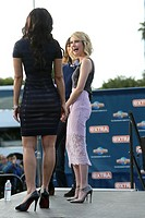 Emma Roberts and Gia Coppola seen at Universal Studios where they were interviewed for television show Extra. Featuring: Emma Roberts,Gia Coppola Wher...