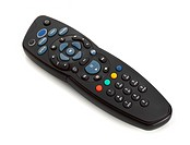 Digital satellite television remote control on white background