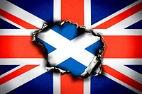 Union Jack, burn hole and flag of Scotland, Scottish eagerness for independence