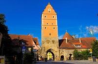Dinkelsbuhl, Woernitz Gate, Romantic Road, Romantische Strasse, Dinkelsbühl, Middle Franconia, Bavaria, Germany.