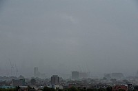 Storm clouds gather and heavy rain falls over the City of London as the remnants of Hurricane Bertha sweeps across the United Kingdom Where: London, U...