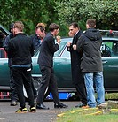 Tom Hardy films Cemetery scene for the Kray twins biopic 'Legend', on location in Kingston London Featuring: Tom Hardy Where: London, United Kingdom W...