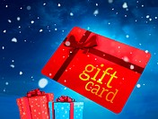Composite image of red gift card