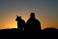 Dog and master watching sunrise, Mojave Desert, California, USA, MR.