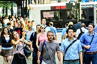 Morning Rush Hour, Pedestrian Traffic, 5th Avenue, Midtown Manhattan, New York City, USA.