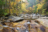 Peabody River in Pinkham Notch of the White Mountains, New Hampshire USA during the autumn months.