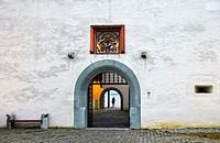 Portal of the Nyon castle, Château de Nyon, Nyon, Vaud, Switzerland.