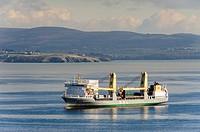 Cargo ship, Cap de la Chevre, Pointe de Saint Hernot, Douarnenez Bay, Finistere, Brittany, France.