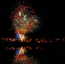 Night fireworks in the pond