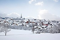 A photography of a winter village snow land