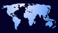 isolated map of the world with all continents showing global economy
