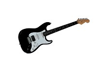 Black Stratocaster style electric guitar isolated on white