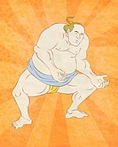 illustration of a Japanese sumo wrestler done in cartoon style with sunburst in background