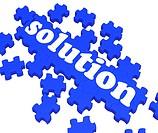 Solution Puzzle Shows Business Success And Achievement