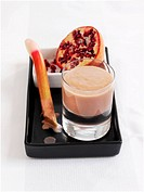 Rhubarb and yogurt smoothie with pomegranate