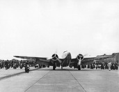 New York, New York: July 14, 1938.Howard Hughes´ Lockheed 14N Super Electra airplane at Floyd Bennett Airport in Brooklyn when he landed there after f...