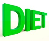 Dieting Word Shows Diet Information And Recommendations