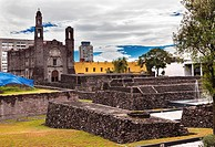Plaza of the Three Cultures, Plaza de las Tres Culturas, Ancient Aztec City of Tlatelolco, where Aztecs staged last battle against Cortez in Mexico Ci...