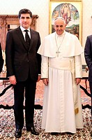 VATICAN CITY, VATICAN - MARCH 02: Pope Francis meets Prime Minister of Regional Government of Iraqi Kurdistan Nechirvan Idris Barzani at the Apostolic...
